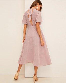 Women Dresses Stand Collar A Line Half Sleeve Dresses