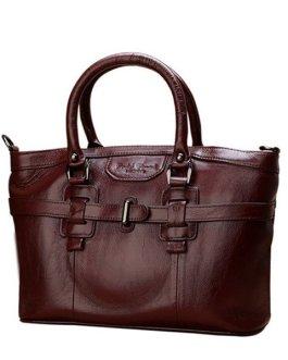 Women Genuine Leather Vintage Oil Wax Handbag Solid Leisure Shoulder Bag