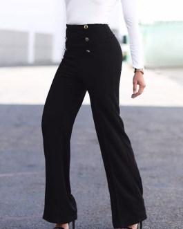 Women Long Pants Buttons High Elastic Waist Straight Leg Pants