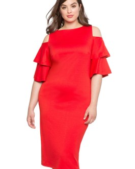 Women Plus Size Party Ruffles Shaping Bodycon Dress