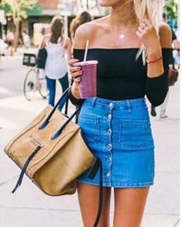 Women Throw Back Style Mini Denim Skirt