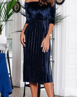 Women Velour Pleated Midi Dress