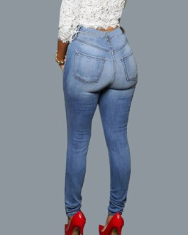 Women's High Waisted Faded Denim Skinny Jeans