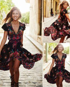 Boho Short Maxi Dress Evening Party Beach Dresses Sundresss