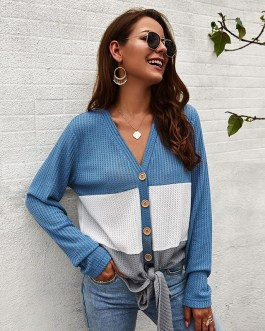 Casual Long Sleeve Lace Up Sweater Top