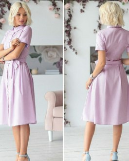 Casual Turn Down Collar Short Sleeve Midi Dress