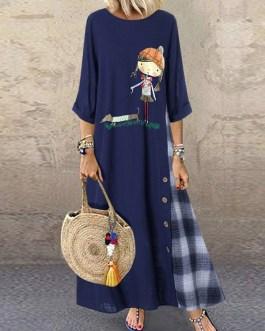 Causal Cartoon Girl Patch Plaid High Low Hem Dress