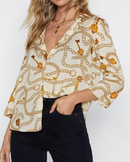 Chain Print Long Sleeve Chiffon Blouse