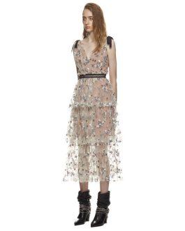 Deep V Neck Backless Spaghetti Strap Sheer Mesh Dress