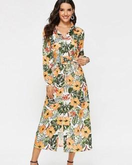 Floral Print Long Sleeve Vintage Casual Dress