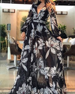 Floral Print V Neck Floor Length Dress