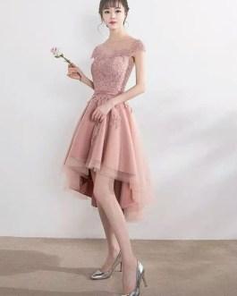High Low Lace Applique Illusion Short Prom Dress