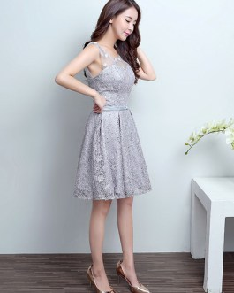 Homecoming Lace Short Bow Sash Cocktail Party Dress