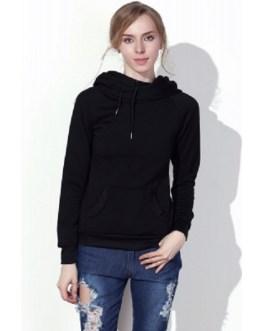 Hooded Long Sleeve Drawstring Solid Color Hoodie