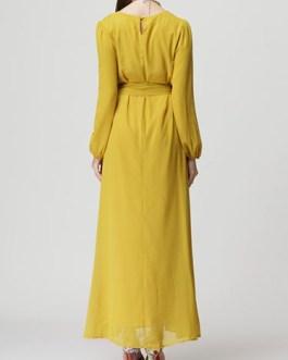 Long Sleeve Oversized Long Dress With Sash