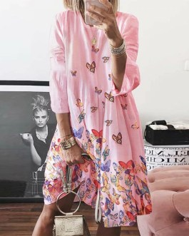 O Neck Butterfly Print Three Quarter Sleeve Plus Size Party Dress