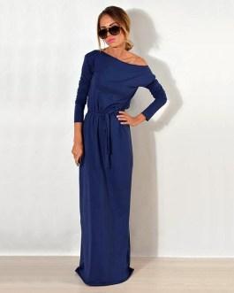 One Shoulder Long Sleeve Elegant Maxi Dress