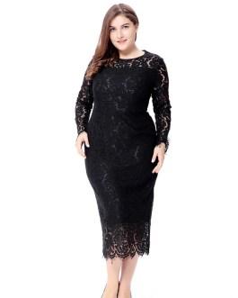 Plus size Elegant lace bodycon party dress
