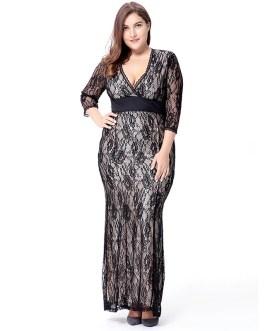 Plus size Elegant lace long Maxi Dress