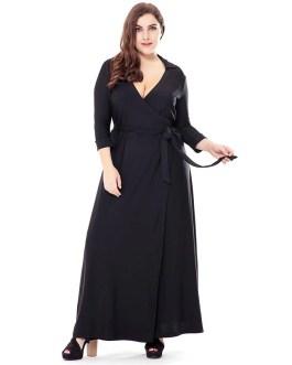 Plus size Solid V-Neck Elegant long party dress