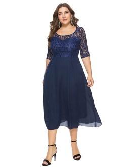 Plus size casual party midi dress