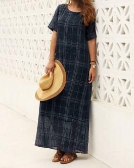 Short Sleeve Plaid Loose Maxi Dress