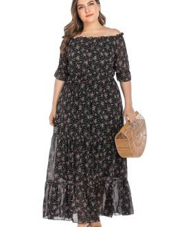 Slash Neck Floral Print Ruffles Chiffon Boho Dress