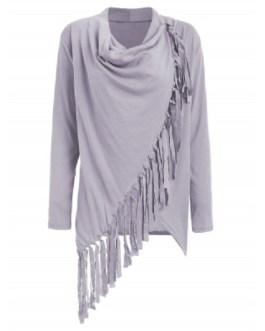 Tassel Asymmetric Long Sleeve Top