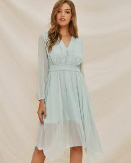 V Neck Button Irregular Hem Swing Dress