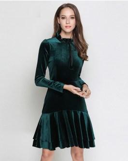 Velvet long Sleeve elegant evening party dress