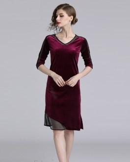 Vintage V-Neck Patchwork fashion office party short dress