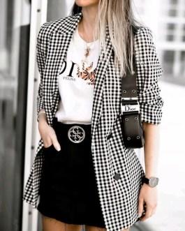 Plaid Fashion Turndown Collar Buttons Long Sleeve Blazer
