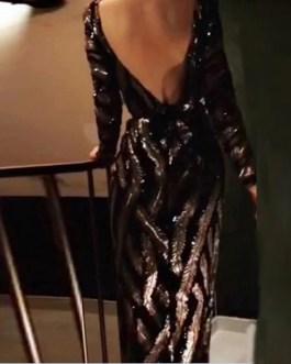High Split Bacakless Striped Maxi Dress