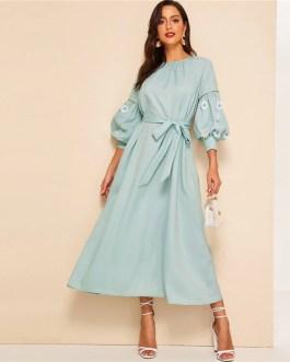 Keyhole Back Lace Appliques Belted Hijab Maxi Dress