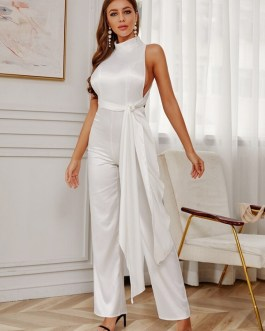 Knotted Halter Flared Sexy High-Waist Cross Backless Jumpsuit