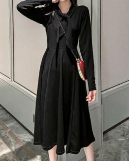 Jewel Neck Knotted Long Sleeves Acrylic Oversized Shirt Dresses