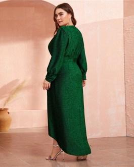 Lantern Sleeve Wrap Dip Hem Glitter Maxi Dress