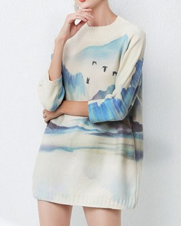 Casual Jewel Neck Long Sleeves Animal Print Stretch Pullover Sweater
