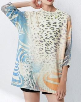 Jewel Neck Crochet Leopard Print Stretch Quality Pullover Sweater