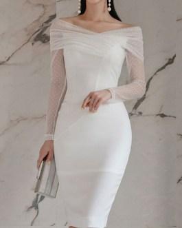 Polka Dot V Neck Zipper Layered Sexy Long Sleeves Pencil Bodycon Dress