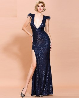 Sexy Off Shoulder Feather Sequin Maxi Dress