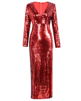 Sexy Sequin Evening Party V Neck Maxi Dress
