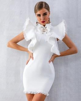 Sexy Sleeveless Ruffles Tassel Celebrity Bodycon Club Dress