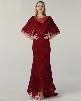 Sleeveless Shawl Beading Sequined Lace Evening Gowns