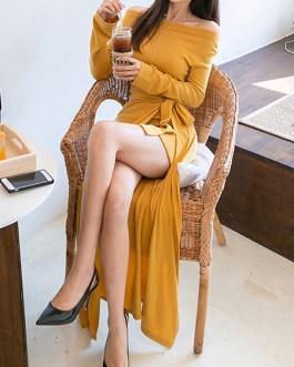 Long Sleeves Off The Shoulder Split Front Asymmetrical Cotton Maxi Dresses