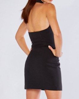 V Neck Buttons Sleeveless Backless Semi Formal Party Dresses