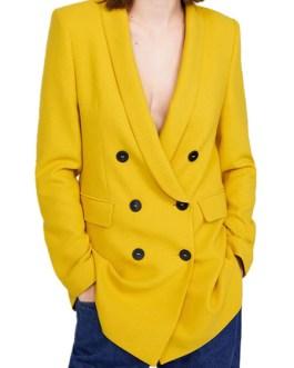 Chic Buttons Turndown Collar Long Sleeve Blazer