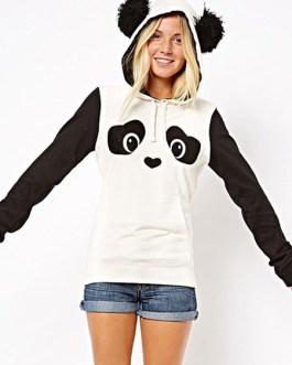 Fleece Panda Casual Long Sleeve Street Wear Hoodie