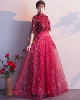 Half Sleeve Lace High Collar Formal Gowns