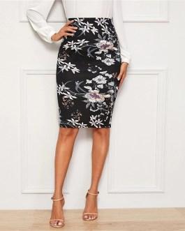 High Waist Office Ladies Plants And Floral Print Elegant Pencil Skirt